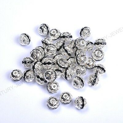 10pcs Black Quality Czech Crystal SILVER PLATED Charms Spacer BEADS 6MM