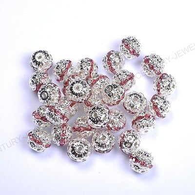 10pcs Pink Quality Czech Crystal SILVER PLATED Charms Spacer BEADS 8MM