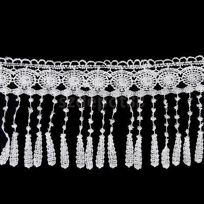 2.7M x 11.5cm Floral Tassel Lace Trim DIY Sewing Applique Wedding Deco White