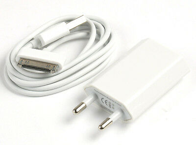 2 in 1 EU Plug Wall Charger Adapter + USB Data Sync Cable For iPhone 1 2 3 4 4S