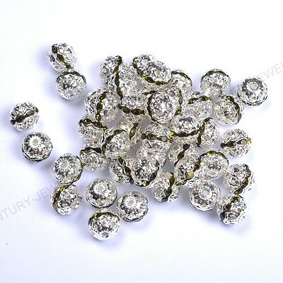 10pcs Peridot Quality Czech Crystal SILVER PLATED Charms Spacer BEADS 8MM
