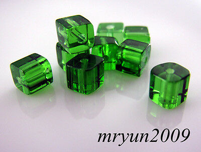 Free LOT 200pcs TOP Glass CRYSTAL Square CUBE Green Dream Beads findings 4x4mm