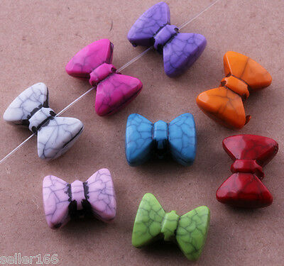 30 Pcs Mixed Color Bow Spacer findings Loose Beads Charms 14mm