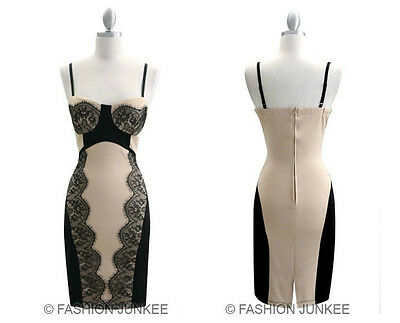 TAUPE BLACK LACE BUSTIER DRESS Sexy Body Con Spaghetti Strap Mini Clubwear NEW S