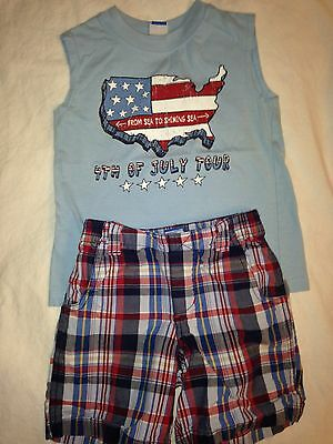 4TH of July Toddler Boy 2 Piece Outfit Lot Size 2T Red White Blue American Flag