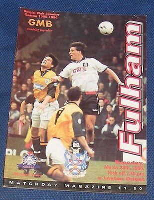Fulham Home Programmes 1995-1996