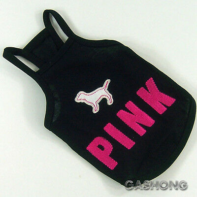 Dog&Cat Clothes PINK Embroidered Halters Tank Tops Cool Shirts_A707 Black,sz M