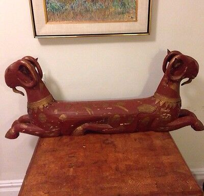 """Vintage 2 Double Headed Large Hand Carved Wood Ram Red Gold Unique Rare 45"""" Long"""