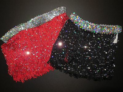 "NWT Dance 9"" Spotlight Fringe Skirt Sequin Waist Black or Red Ladies/Girls Szs"