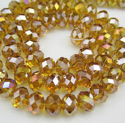 DIY Jewelry Faceted 100pcs Rondelle crystal #5040 3x4mm Beads Amber AB colors 8B