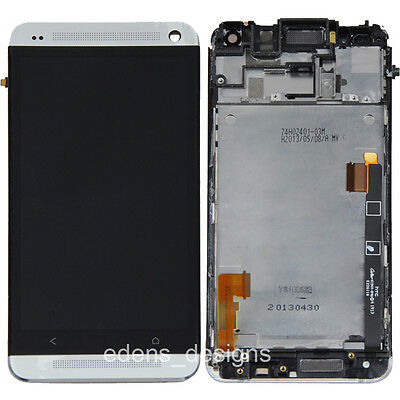 HOUSING LCD TOUCH SCREEN DIGITIZER FRAME BEZEL ASEMBLY FOR HTC ONE M7 SILVER US