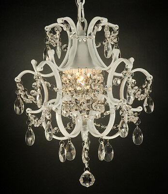 WROUGHT IRON CRYSTAL CHANDELIER LIGHTING COUNTRY FRENCH WHITE swag kit w plugin