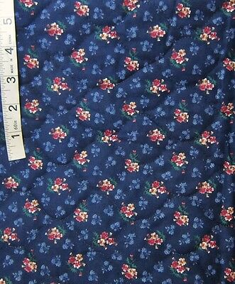 1+ yds Red,Mauve Floral Print on Dk Blue 1-Side Pre-Quilted Fabric VIP Cranston