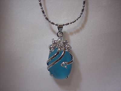 S-5072 Stunning Sky Blue Opal and Crystal Pendant Necklace 18K GP