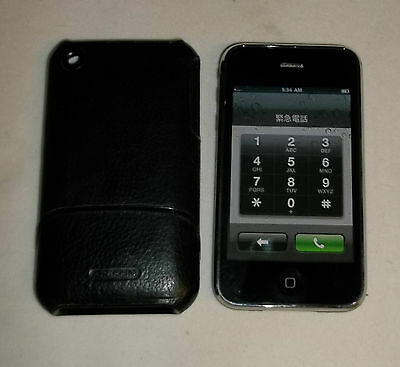 Apple iPhone 3G 8GB Black Unlocked AT & T MC640LL/A + Griffin Leather Case EUC!