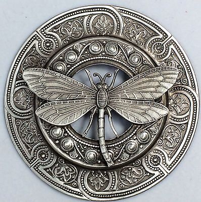 "HUGE 3""INCH Brushed Sterling Silver Overlay On Stamped Brass""DRAGONFLY BUTTON"""