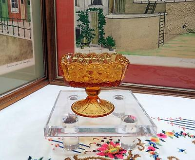 "VINTAGE L.G. WRIGHT AMBER DAISY & BUTTON SQUARE 3 1/4"" PEDESTAL CANDY DISH"
