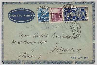 B0477: Italy #473A, 474, 513 on Cover to Palestine