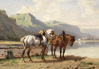 Oil painting beautiful animals two horses Under the hot sun by the river landsca