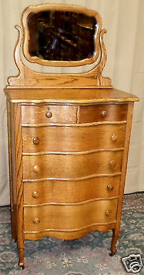 ANTIQUE Showers Brothers Oak Serpentine 2 Over 4 Drawer Tall Dresser With Mirror
