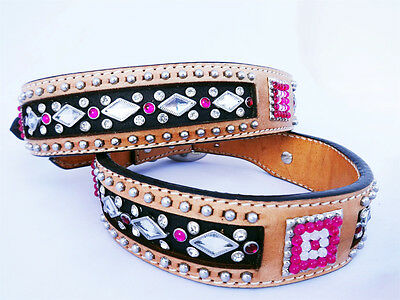 WESTERN STYLE PINK DIAMOND SILVER STUD LEATHER CANINE DOG COLLAR LARGE SIZE 20