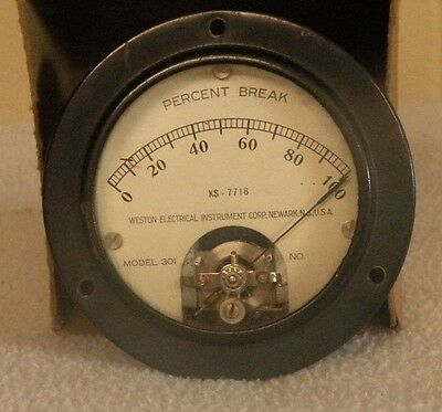 Vintage Weston Electrical Percent Break Meter Model 301 KS7718