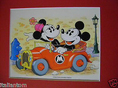 MATTED MICKEY AND MINNIE MOUSE DRIVING CAR DISNEY CEL CELL ANIMATION ART