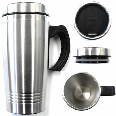 16OZ Double Wall Stainless Steel Coffee Cup wHandle Insulated Travel Mug Tumbler