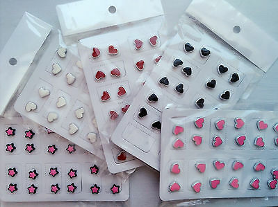 1PAIR Kids Women Fake MAGNETIC Heart star NO Piercing ear Hole studs Earrings