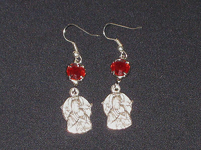 Our LADY of PERPETUAL Help EARRINGS Red Crystals (charm made in Italy)