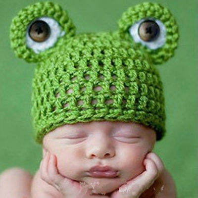 Cute Handmade Baby Toddler Newborn Crochet Hat Knit Photography Prop Beanie Frog