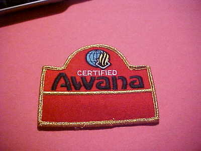 CERTIFIED AWANA  IRON ON EMBROIDERED  PATCH 3 3/4 X 3 1/8