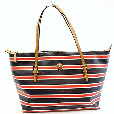 Tommy Hilfiger NEW Blue Coated Canvas Conway Striped TH Shopper Bag Purse $118-