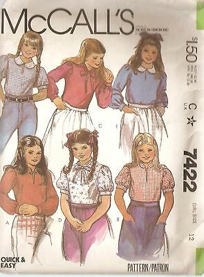 Vintage McCall's 7422 Pullover Blouse Pattern Girls' Size 12 Complete