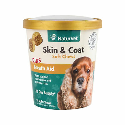 NaturVet SKIN  COAT Plus Breath Aid Healthy Skin Dogs Cats Soft Chew (CUP)-70ct