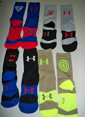 Under Armour Alter Ego Super Hero Variety Pack Crew Socks 4 Pairs Youth Large