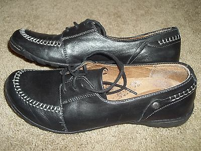 8 HUSH PUPPIES Black Leather Lace Up Walking Comfort Shoes Loafers Oxfords