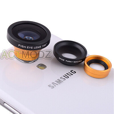 3 in1 Fisheye+Wide Angle+Micro Lens Photo Kit for Samsung iPhone 4 5 5C Gold