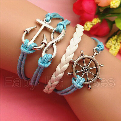 NEW Hot Jewelry Ship anchor Leather Cute Charm Bracelet Silver Blue/White C100