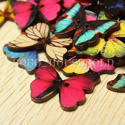 50pcs 2 Holes Colorful Mixed Butterfly Wooden Buttons Sewing And Scrapbook Card