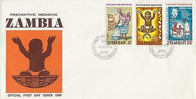 ZAMBIA :1970 Preventative Medicine set on illustrated  First Day Cover