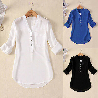 S-5XL 2017 Women V Neck Chiffon Tops Long Sleeve Blouse Casual Solid T Shirt Tee