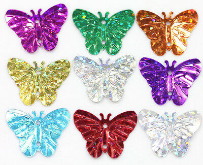 New 50Pcs Mixed Colorful Sequin Butterfly Shape Charms Crafts Making DIY 22X17mm