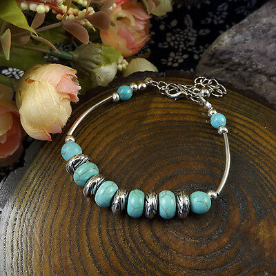 NEW Free shipping Tibet silver Pendant jade turquoise bead DIY bracelet S287D