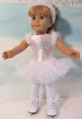 WHITE ICE SKATING DRESS, SKATES ++ Fits American Girl Doll, Journey GilFREE SHIP