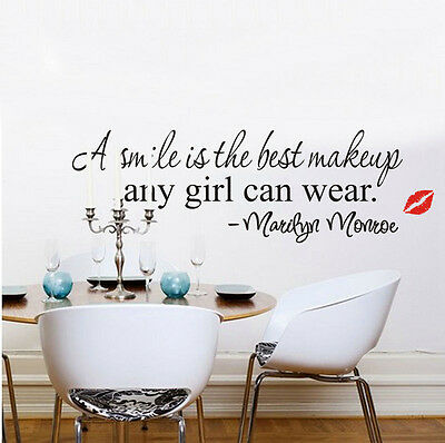 Marilyn Monroe Smile Makeup Quote Vinyl Wall Stickers Art Mural Home Decor Decal