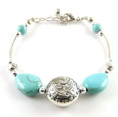 NEW Free shipping Jewelry Tibet silver jade turquoise bead DIY bracelet S276D