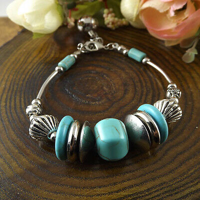 NEW Free shipping Jewelry Tibet silver jade turquoise bead DIY bracelet S271D
