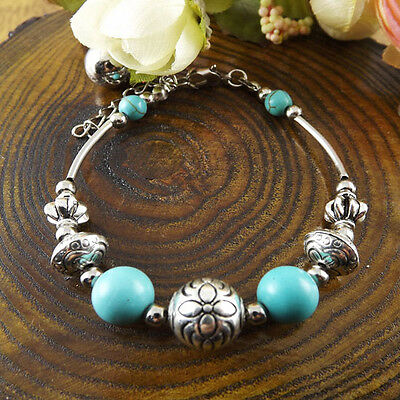 NEW Free shipping Jewelry Tibet silver jade turquoise bead DIY bracelet S270D