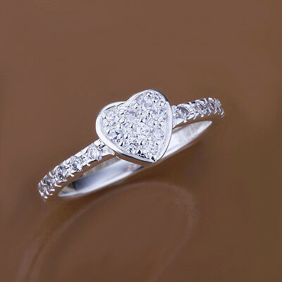 TRENDY STYLE  925 STERLING SILVER-PLATED WOMAN/MEN FLAT HEART RING US SIZE 7